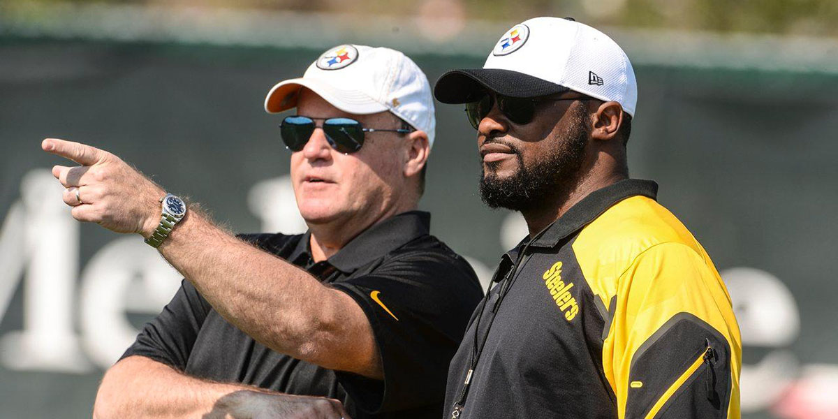 Steelers GM Kevin Colbert and head coach Mike Tomlin