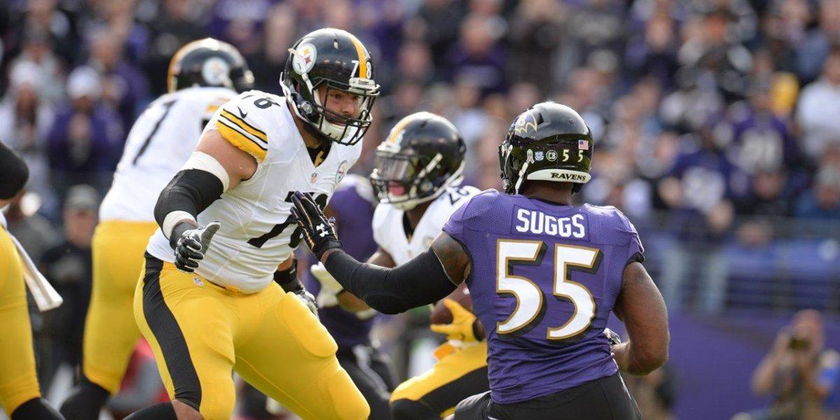 Steelers left tackle Alejandro Villanueva swats Terrell Suggs