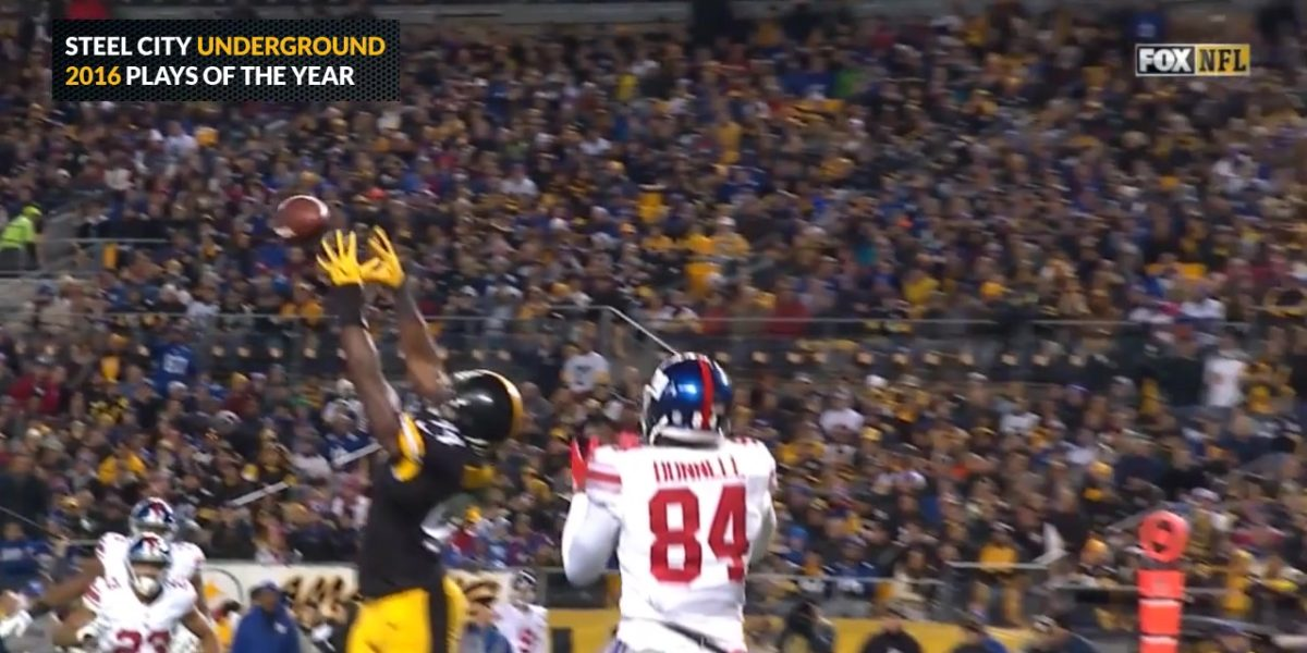 Lawrence Timmons intercepts an Eli Manning pass