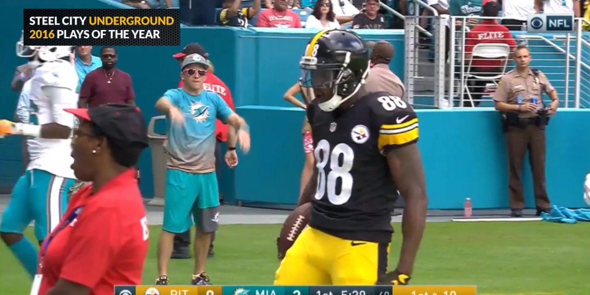 Darrius Heyward-Bey scores a rushing touchdown against the Miami Dolphins