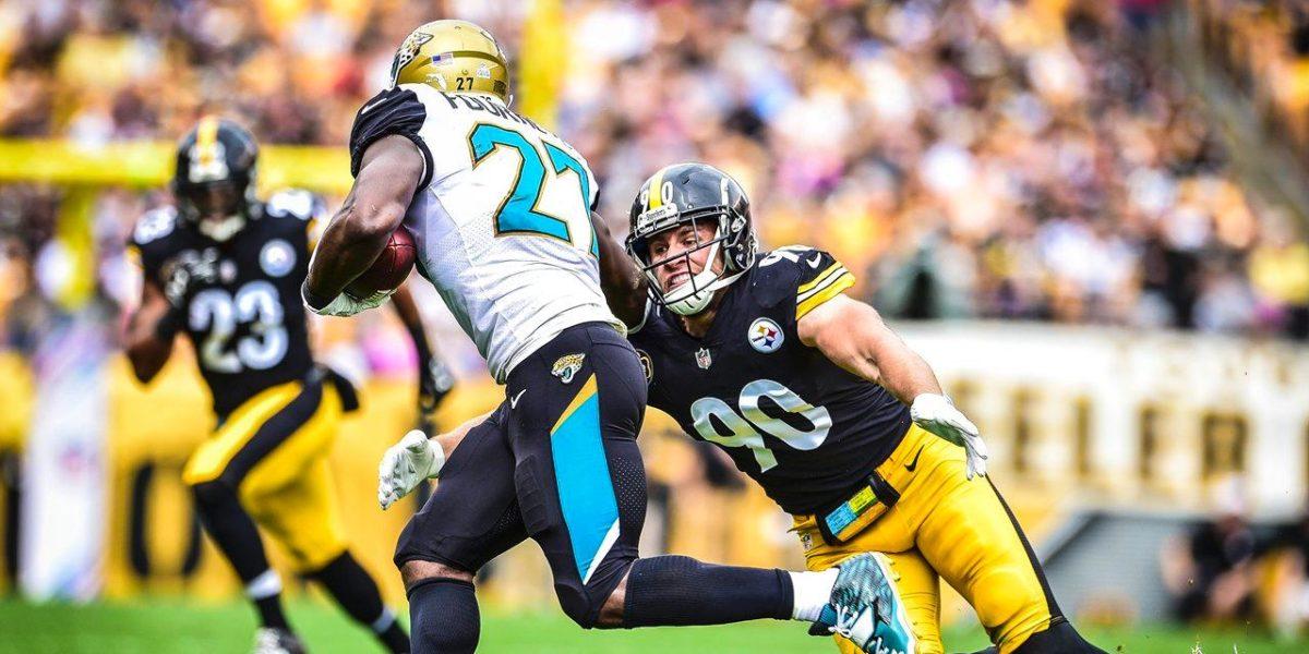 Steelers rookie linebacker T.J. Watt goes head to head with fellow rookie, Leonard Fournette of the Jacksonville Jaguars