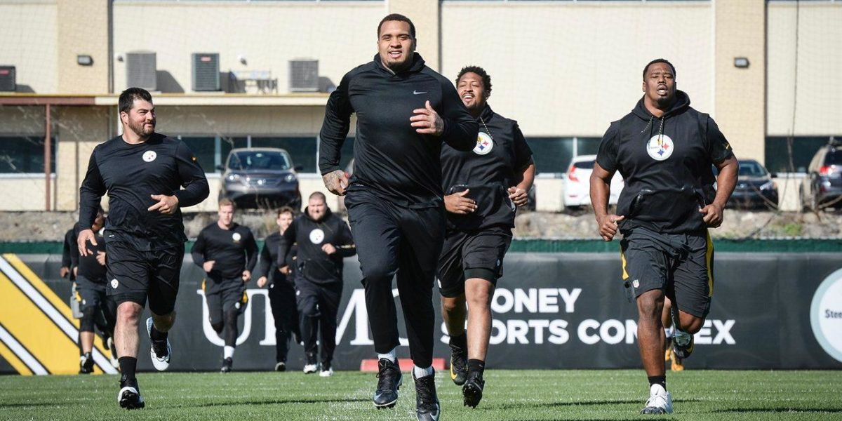 Maurkice Pouncey, Ramon Foster, David DeCastro and Marcus Gilbert run during Steelers offseason workouts Spring 2018