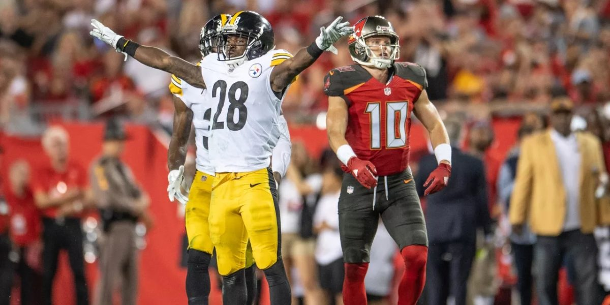 Steelers defensive back Mike Hilton reacts after making an interception against the Tampa Bay Buccaneers