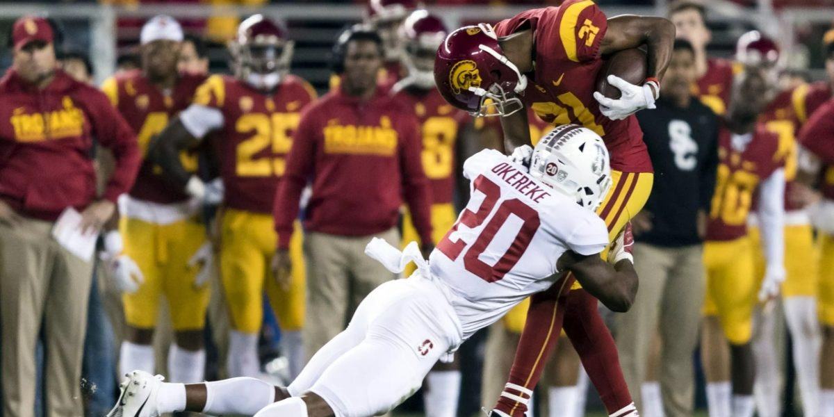 Stanford Cardinals linebacker Bobby Okereke makes a tackle on a USC player