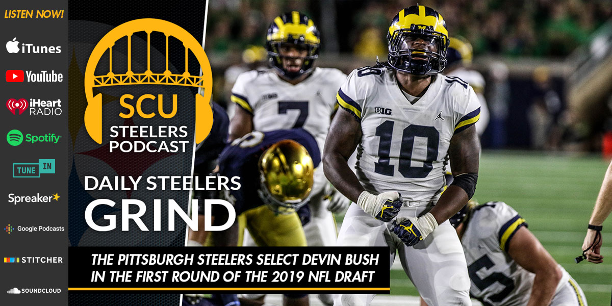 The pittsburgh steelers select Devin Bush in the first round of the 2019 NFL draft