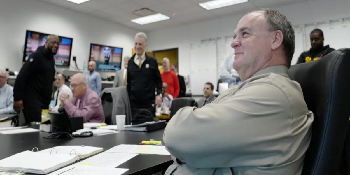 Pittsburgh Steelers GM Kevin Colbert watches the 2019 NFL Draft from the Steelers war room