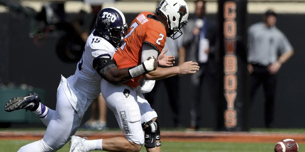 TCU's Ben Banogu sacks the quarterback against Oklahoma in a Big 12 showdown
