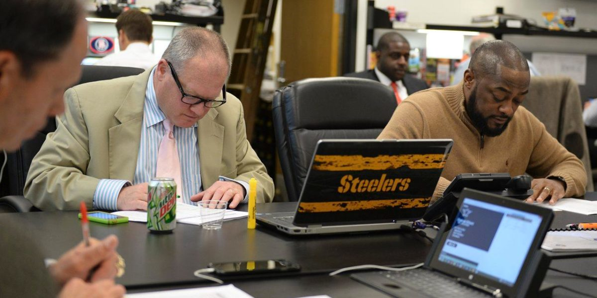 Steelers GM Kevin Colbert with head coach Mike Tomlin