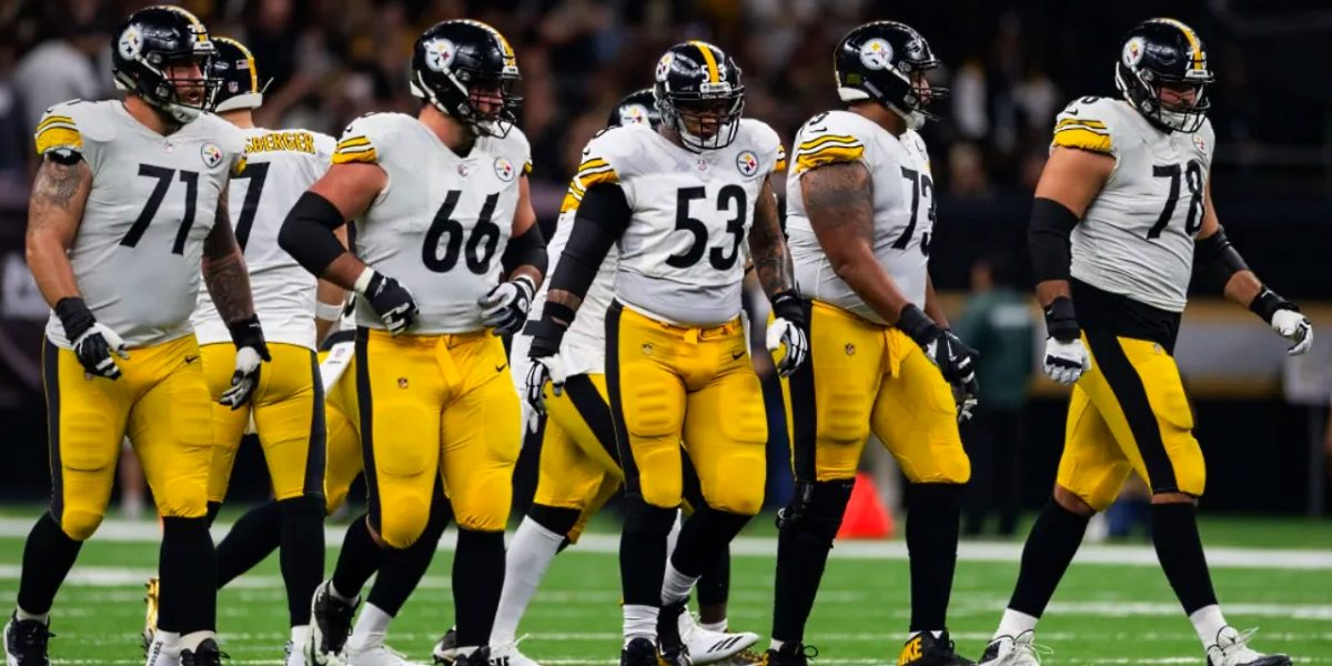 Pittsburgh Steelers offensive line: Matt Feiler, David DeCastro, Maurkice Pouncey, Ramon Foster, Alejandro Villanueva; versus the New Orleans Saints (2018)