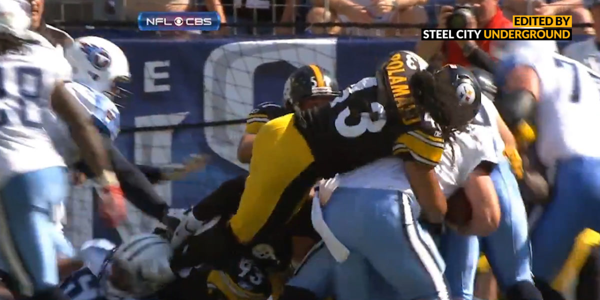 Troy Polamalu jumps snap count and stuffs Kerry Collins