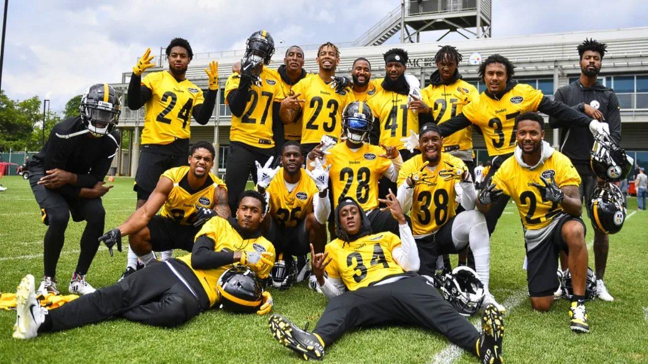Pittsburgh Steelers defensive backs at mini camp in June 2019