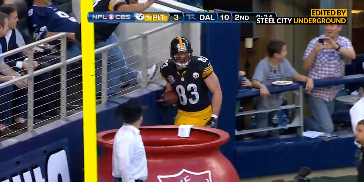 Big Ben famously extends play to get TD toss to Miller