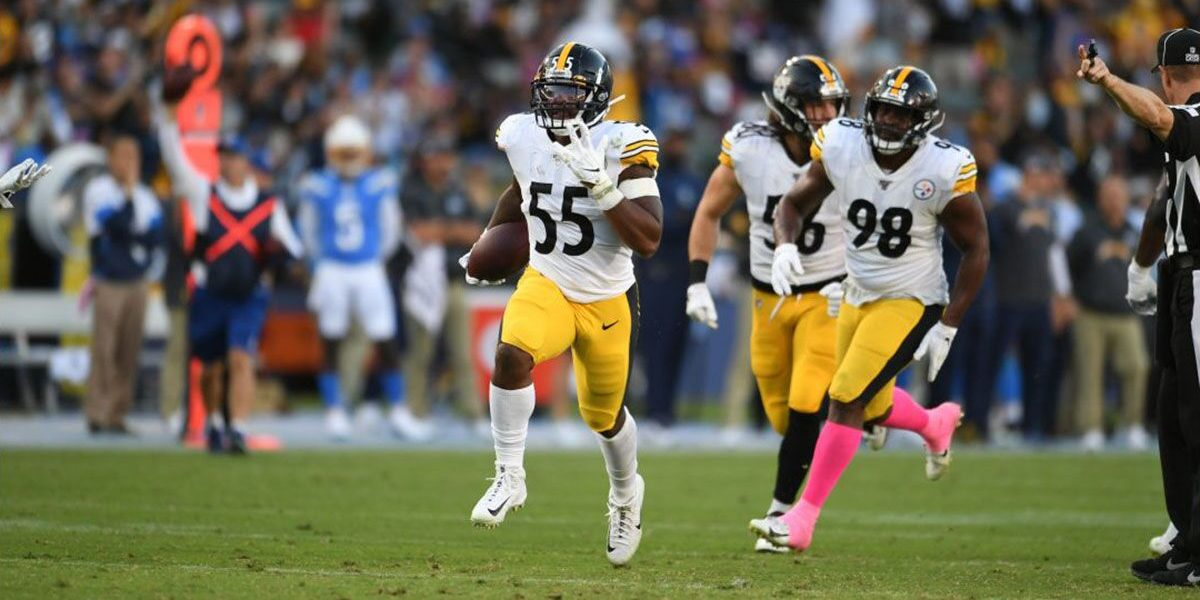 Steelers linebacker Devin Bush (55) grabs a loose ball versus the Los Angeles Chargers in Week 6 of the 2019 NFL Regular Season