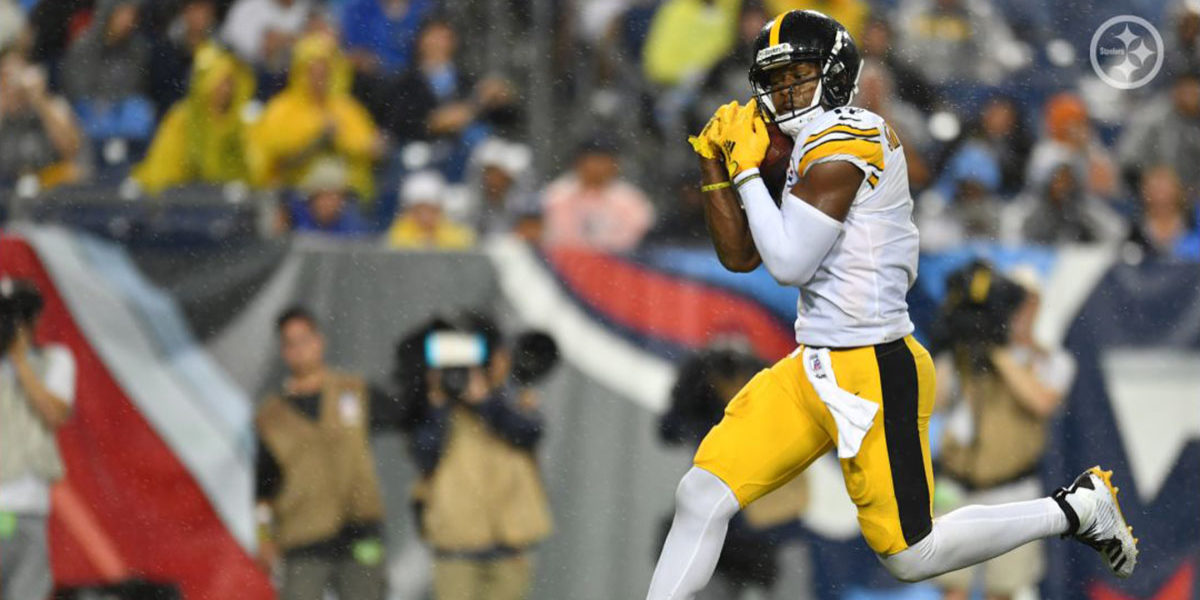 Steelers receiver JuJu Smith-Schuster makes an open-field catch during the 2019 NFL season