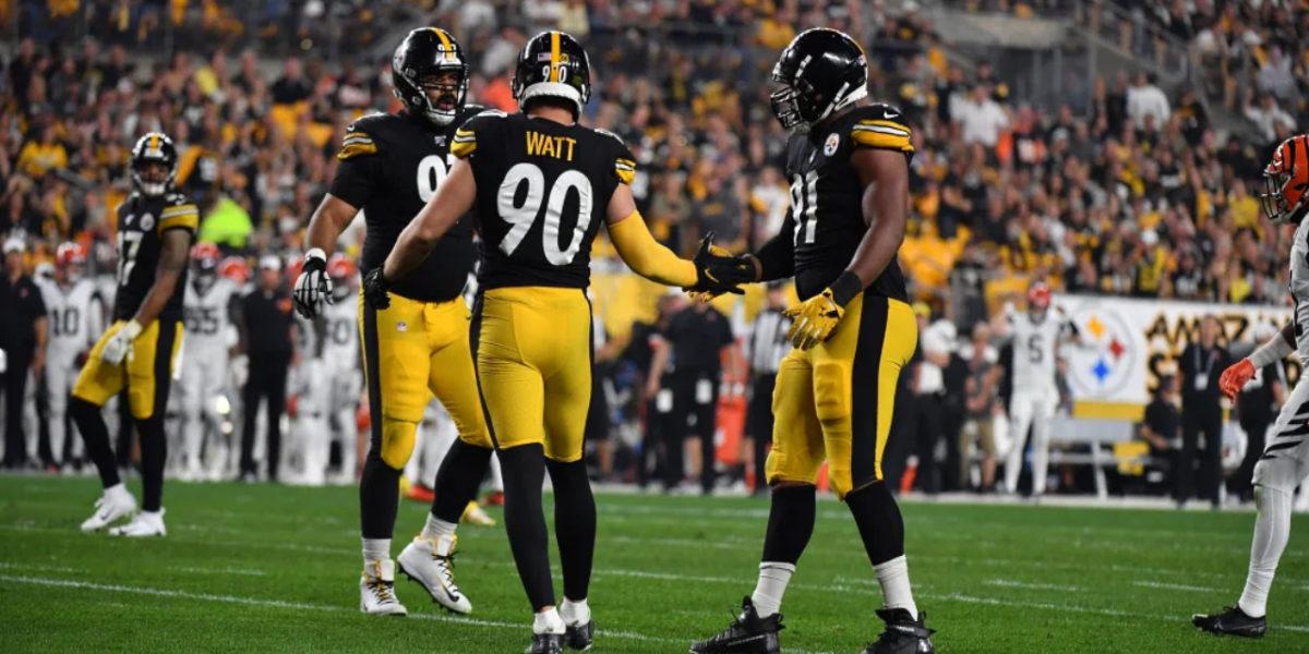 Pittsburgh Steelers linebacker T.J. Watt celebrates a sack with Cam Heyward and Stephon Tuitt against the Cincinnati Bengals in Week 4 of the 2019 NFL regular season