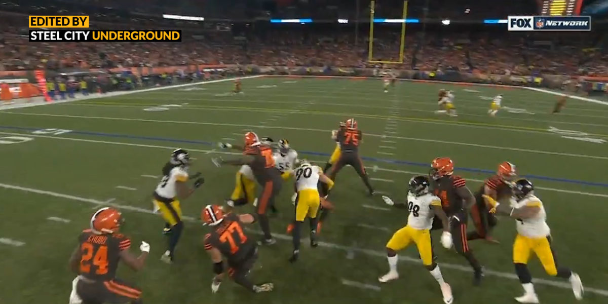 Pittsburgh Steelers LB T.J. Watt sacks Baker Mayfield`