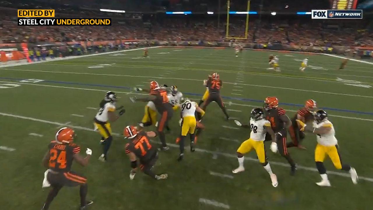 Pittsburgh Steelers LB T.J. Watt sacks Baker Mayfield`