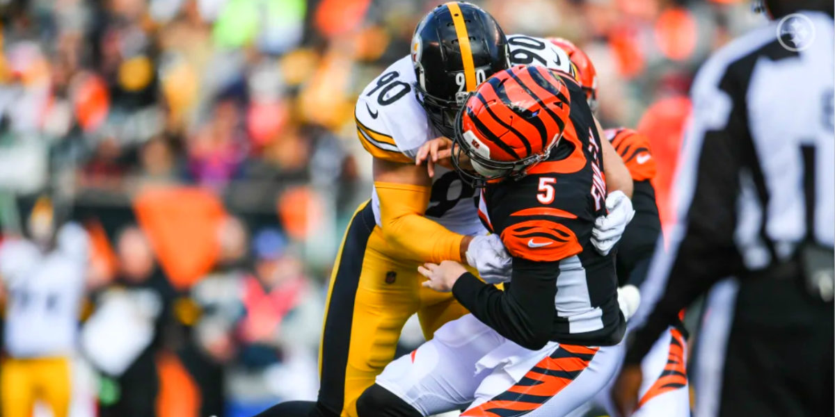 Pittsburgh Steelers linebacker T.J. Watt sacks Cincinnati Bengals quarterback Ryan Finley during Week 12 of the 2019 NFL regular season