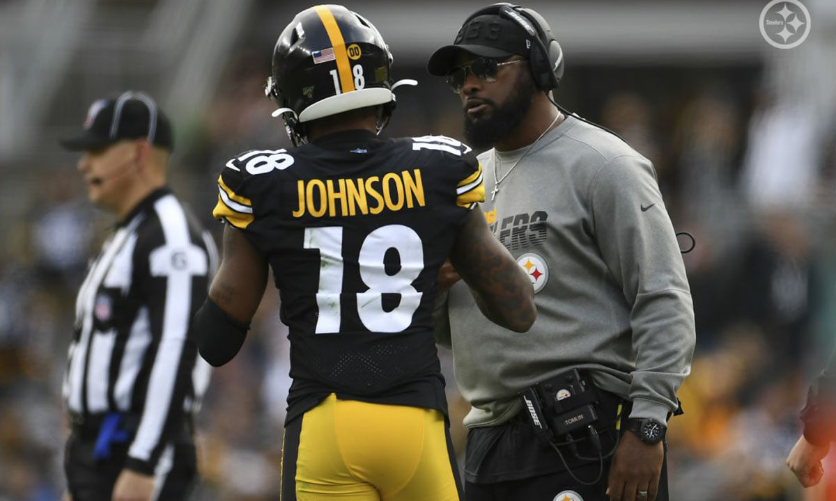 Pittsburgh Steelers head coach Mike Tomlin with Diontae Johnson