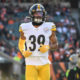 Pittsburgh Steelers safety Minkah Fitzpatrick (39) celebrates an interception against the San Francisco 49ers