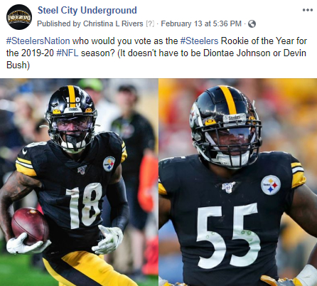 2019 Steelers ROY social media post for Steel City Underground