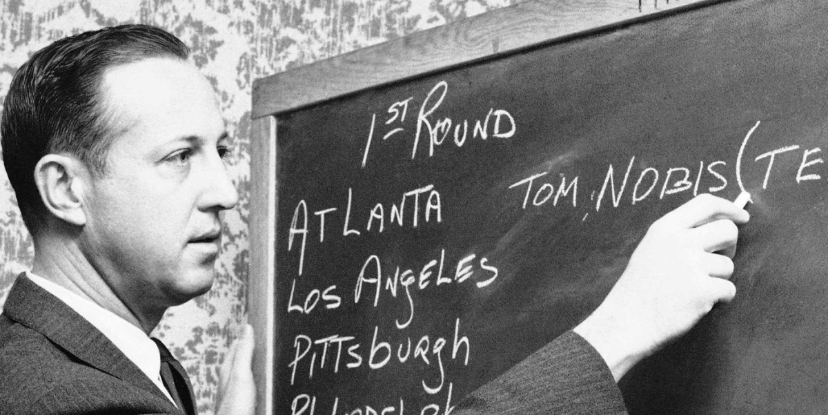 NFL Commissioner Pete Rozelle creates the first ever NFL Draft board in 1936 (PFHOF)