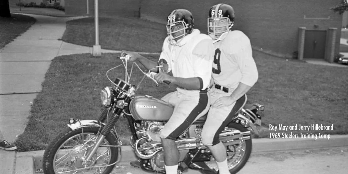 Ray May and Jerry Hillebrand at Pittsburgh Steelers training camp in Latrobe, PA, in 1969