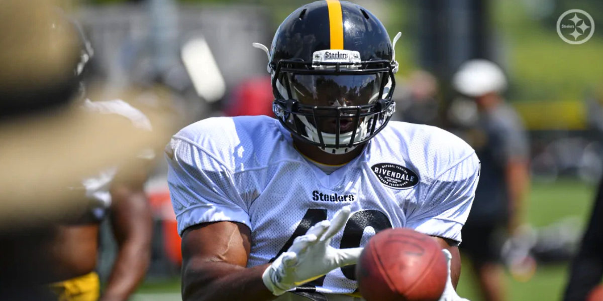 Former rugby player and Pittsburgh Steelers tight end Christian Scotland-Williamson at training camp in 2019