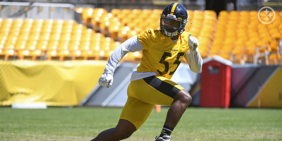 Pittsburgh Steelers second-year linebacker Devin Bush practices during 2020 training camp at Heinz Field
