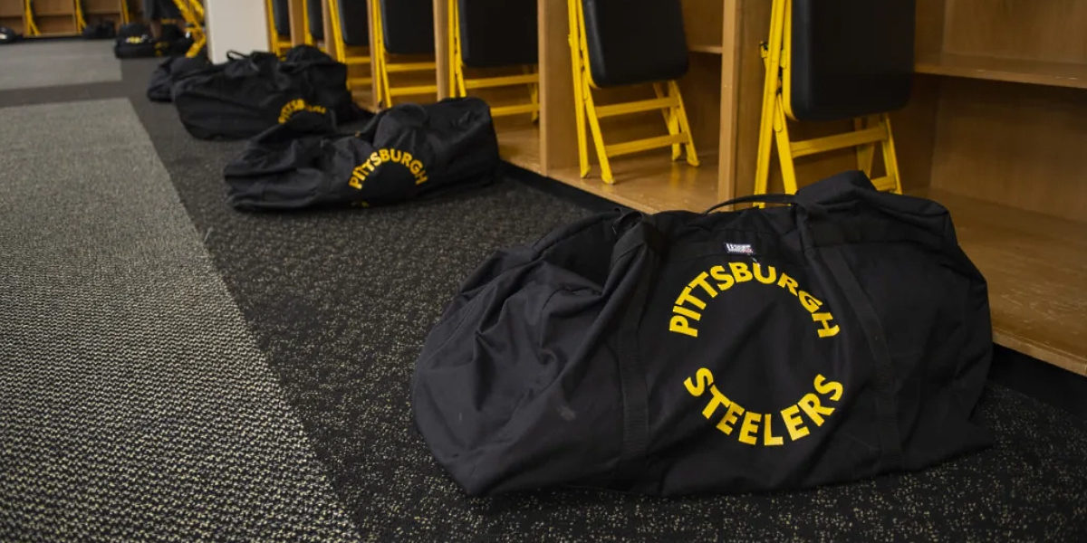 A shot of the Pittsburgh Steelers locker room at Heinz Field, converted for 2020 training camp due to COVID-19