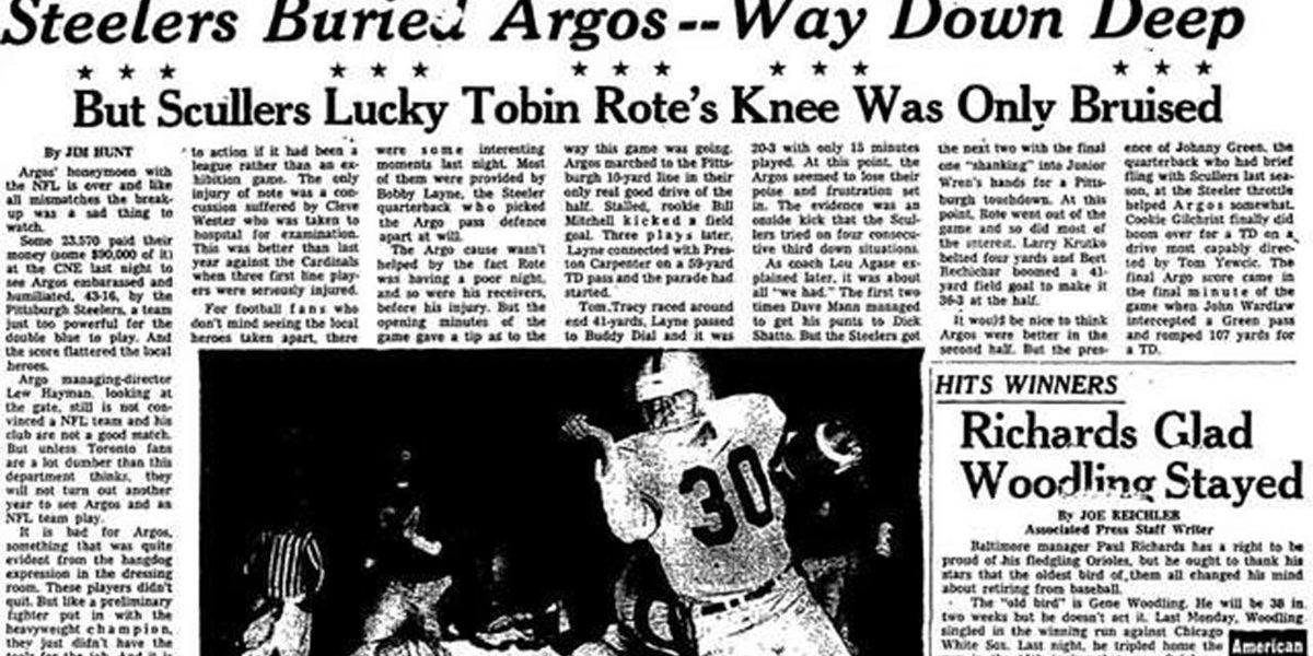 Sports page from the Toronto Star on August 4, 1960