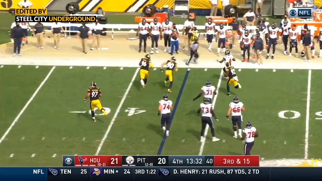 Pittsburgh Steelers CB Mike Hilton intercepts Texans QB Deshaun Watson