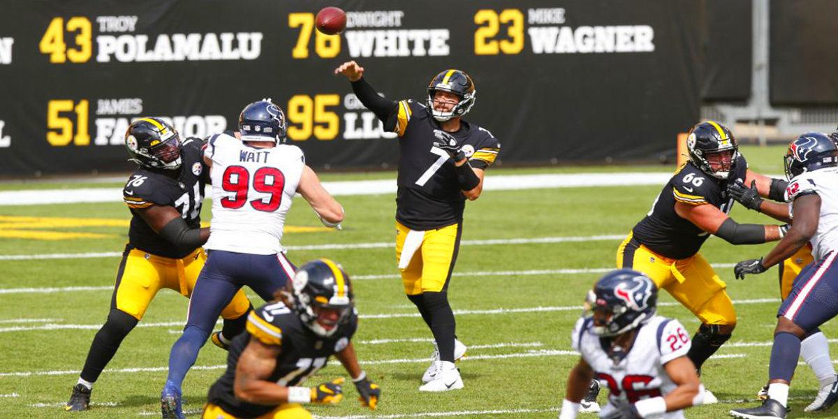 Pittsburgh Steelers quarterback Ben Roethlisberger makes a pass against J.J. Watt and the Houston Texans in Week 3 of the 2020 NFL regular season