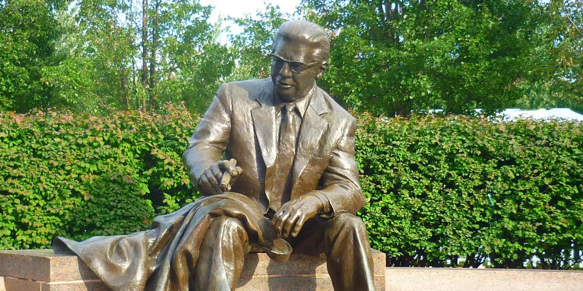 The Arthur J. Rooney statue in Pittsburgh, Pennsylvania