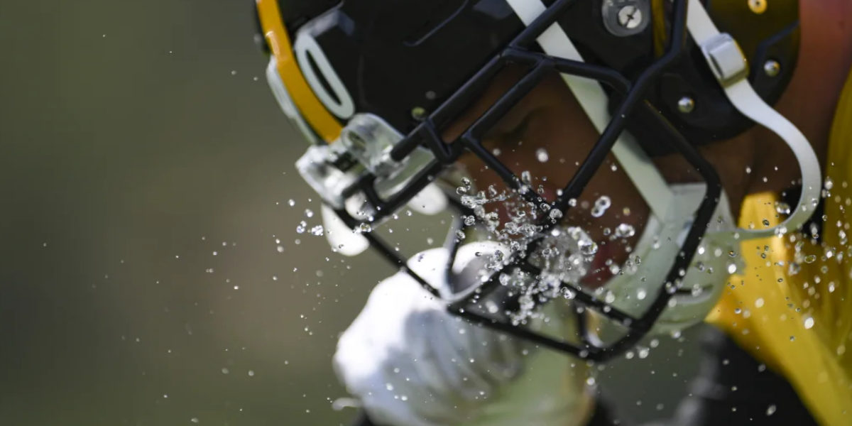 Pittsburgh Steelers linebacker T.J. Watt takes a water break during practice for the NY Giants in Week 1 of the 2020 NFL Regular Season