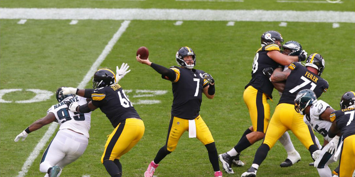Pittsburgh Steelers quarterback Ben Roethlisberger and the offensive line