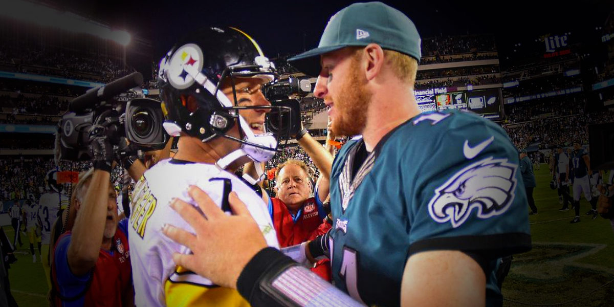 Pittsburgh Steelers quarterback Ben Roethlisberger meets Philadelphia Eagles quarterback Carson Wentz following the game