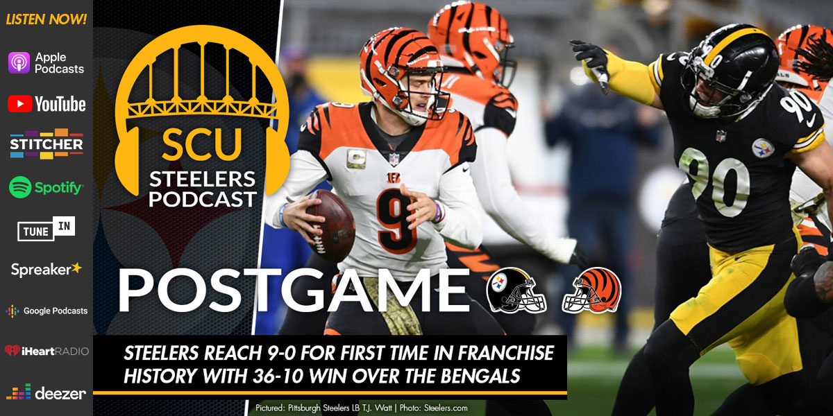 Steelers reach 9-0 for first time in franchise history with 36-10 win over the Bengals