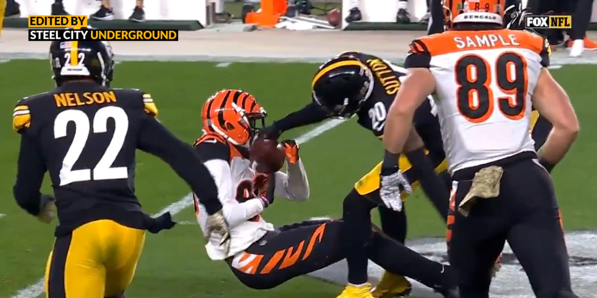 Watch: Cameron Sutton forces fumble with strong strip of Bengals WR Tee Higgins