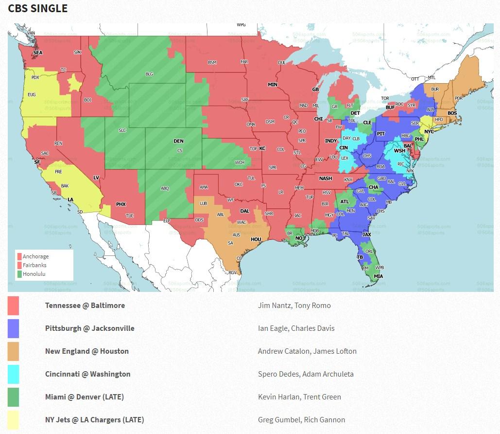 NFL TV Map 2020 Week 11