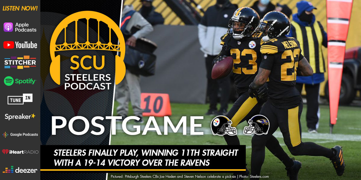 Steelers finally play, winning 11th straight with a 19-14 victory over the Ravens