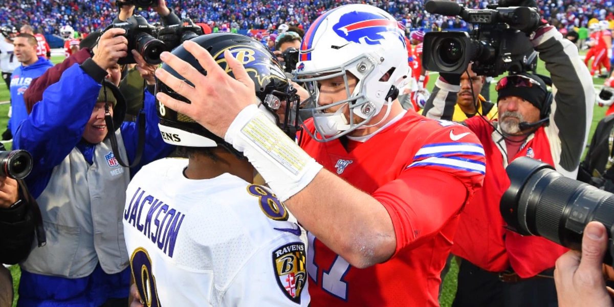 Buffalo Bills quarterback Josh Allen and Baltimore Ravens quarterback Lamar Jackson