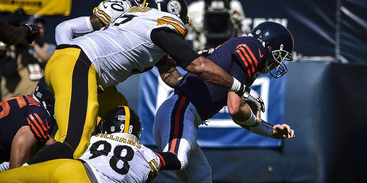 Cam Heyward and Vince Williams of the Pittsburgh Steelers versus the Chicago Bears