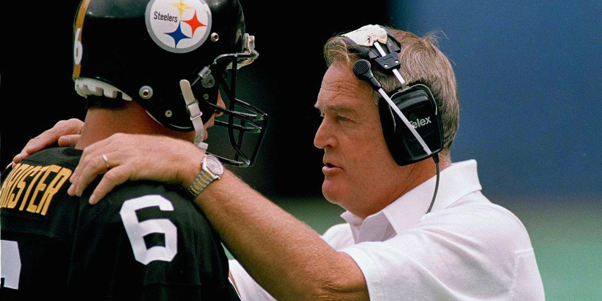 Bubby Brister and Chuck Noll of the Pittsburgh Steelers