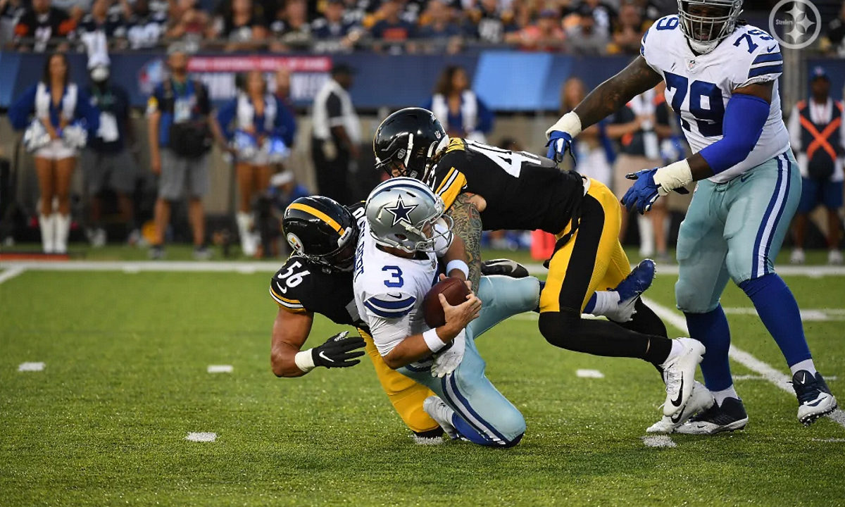 Alex Highsmith makes a sack for the Steelers in the 2021 Hall of Fame Game